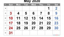 Printable May 2020 Calendar with Week Numbers