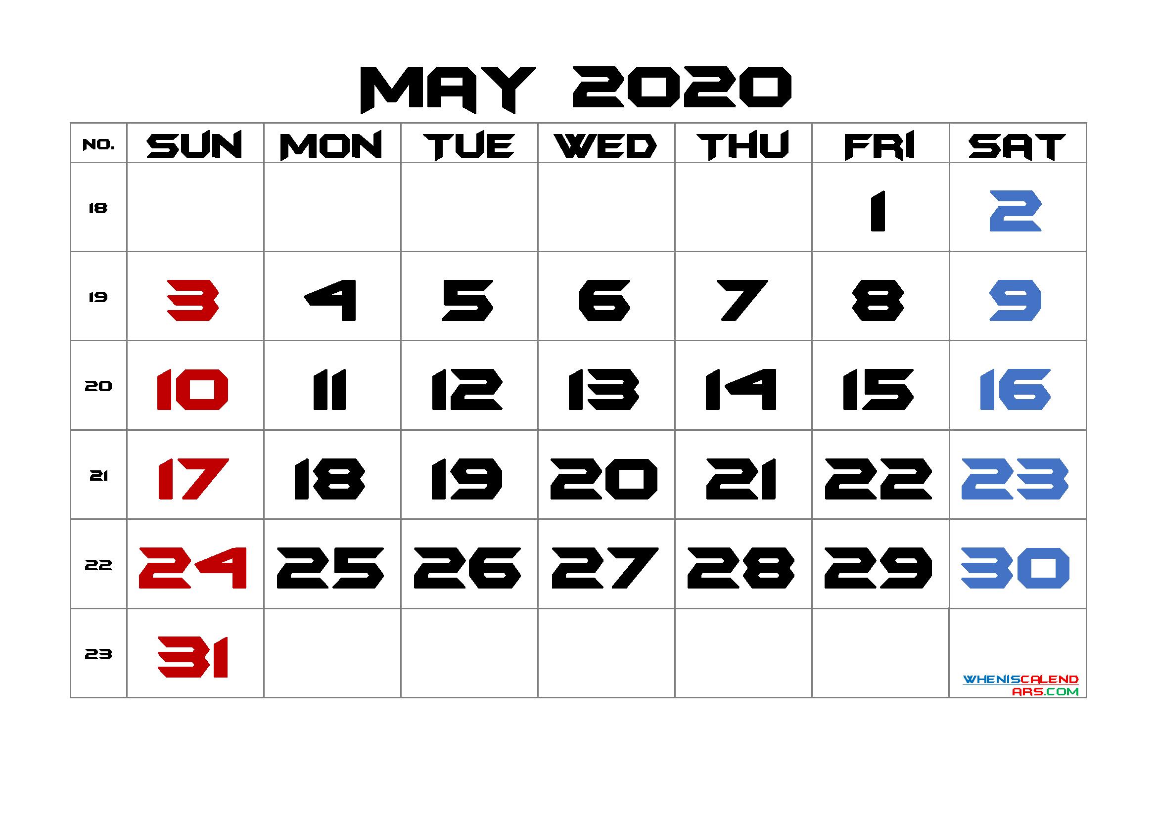 May 2020 Printable Calendar with Week Numbers
