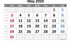 Printable May 2020 Calendar with Week Numbers