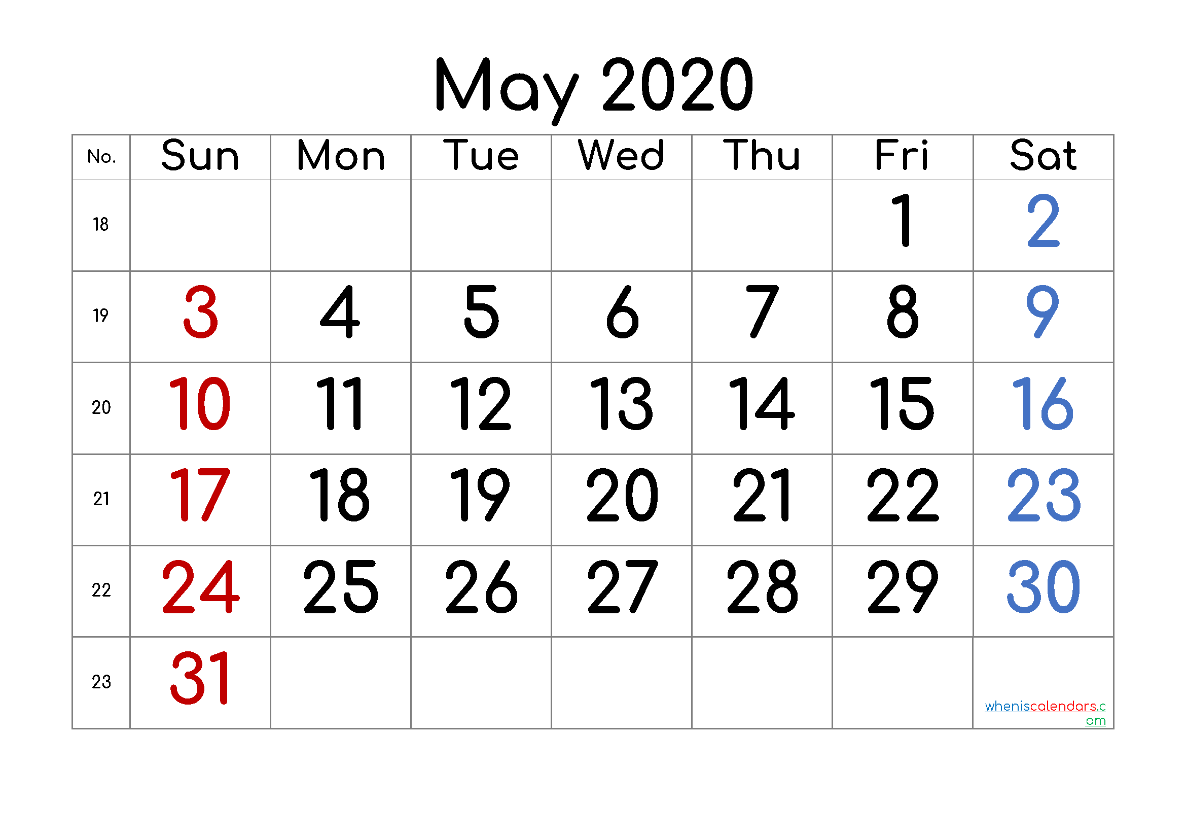 May 2020 Printable Calendar with Week Numbers
