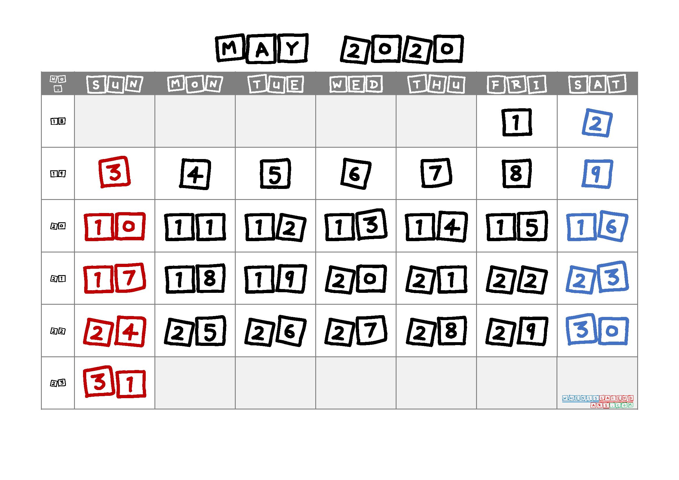 May 2020 Printable Calendar