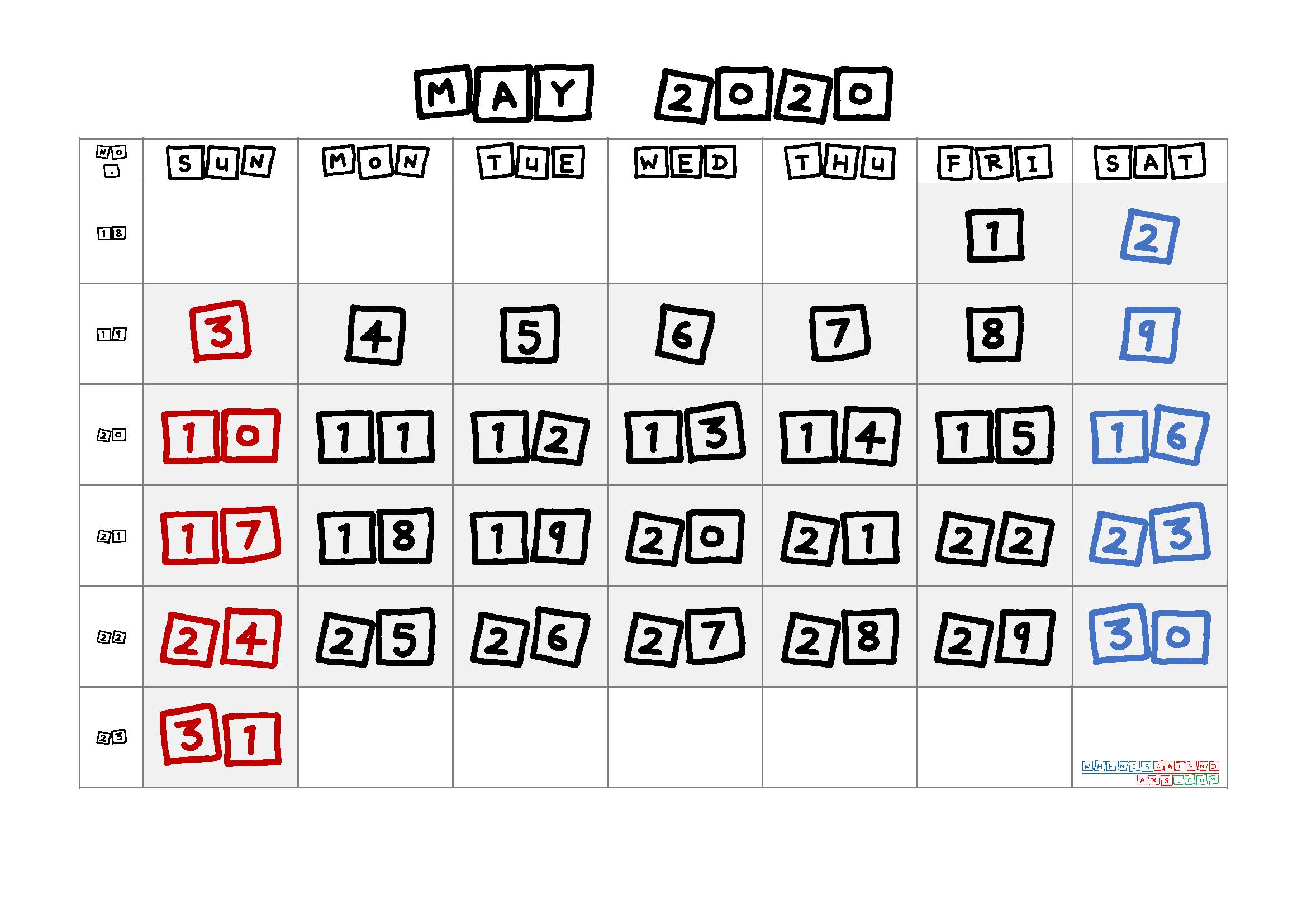 2020 May Free Printable Calendar