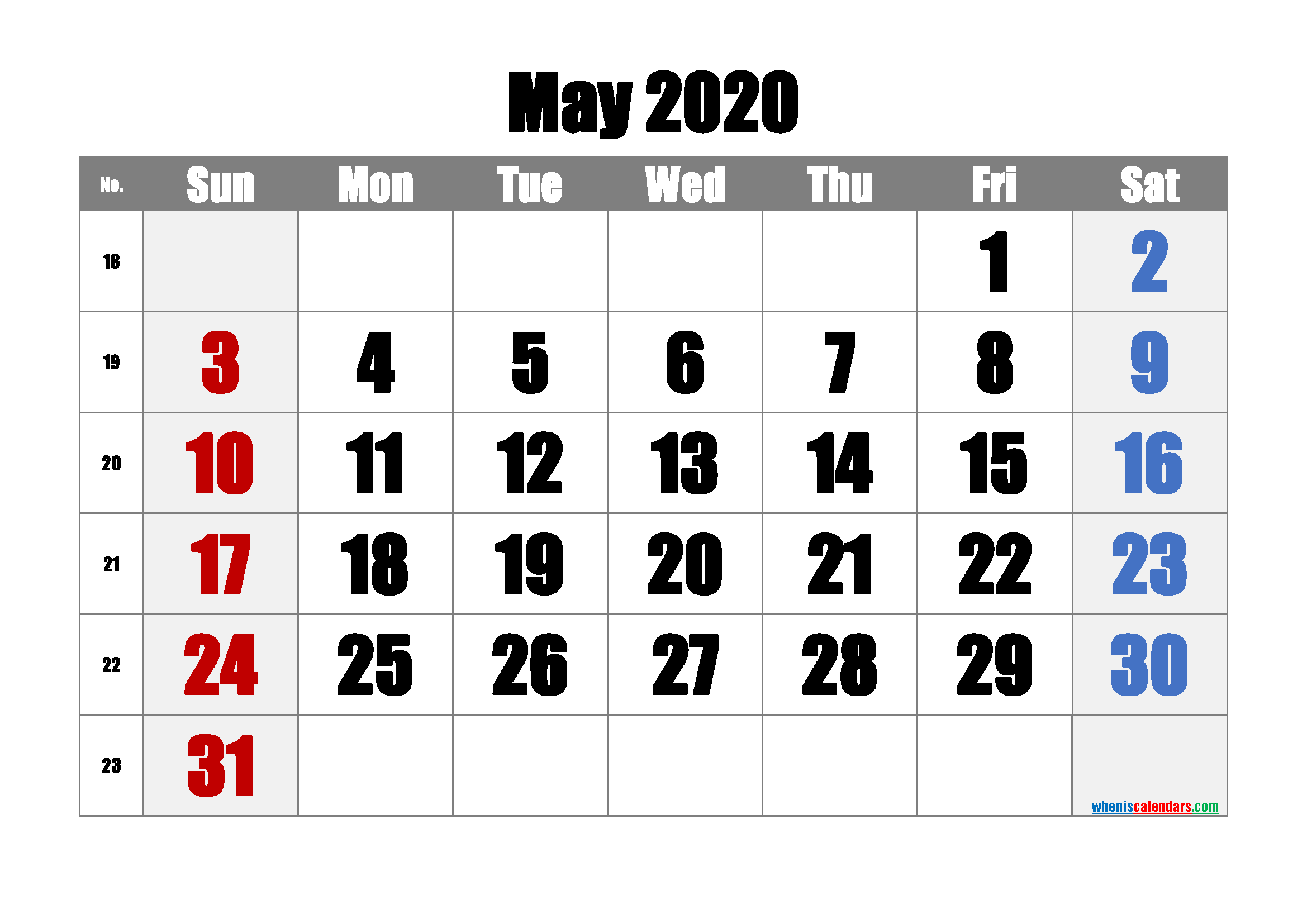 Free May 2020 Calendar with Week Numbers