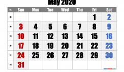 Printable Calendar 2020 May