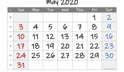 Free Printable 2020 May  Calendar