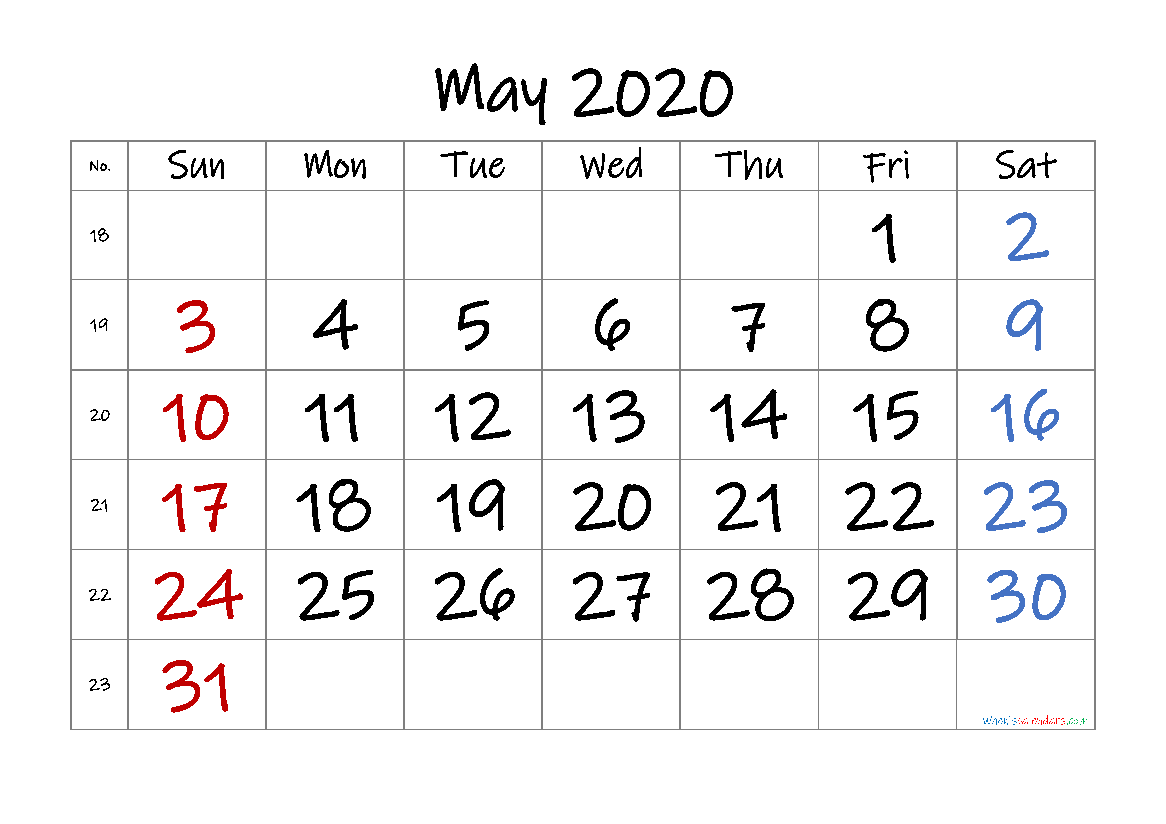 Free May 2020 Calendar