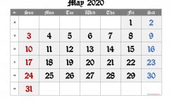 Free May 2020 Calendar with Week Numbers