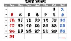 Free Printable May 2020 Calendar with Week Numbers