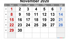Free November 2020 Calendar with Week Numbers