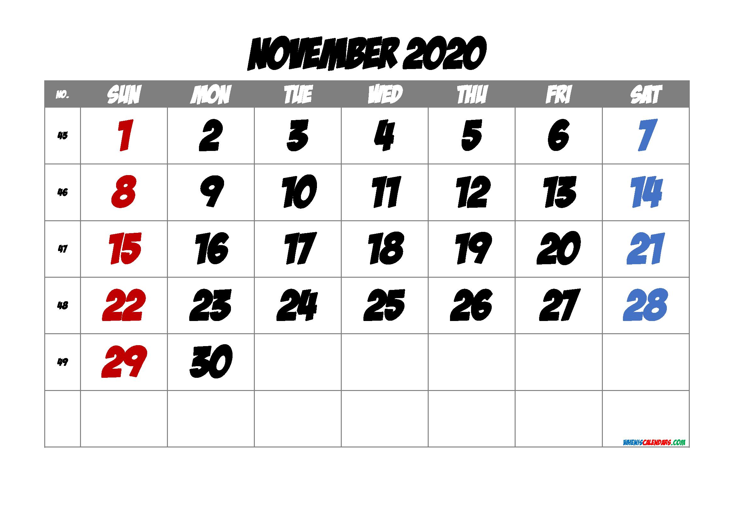 2020 November Free Printable Calendar