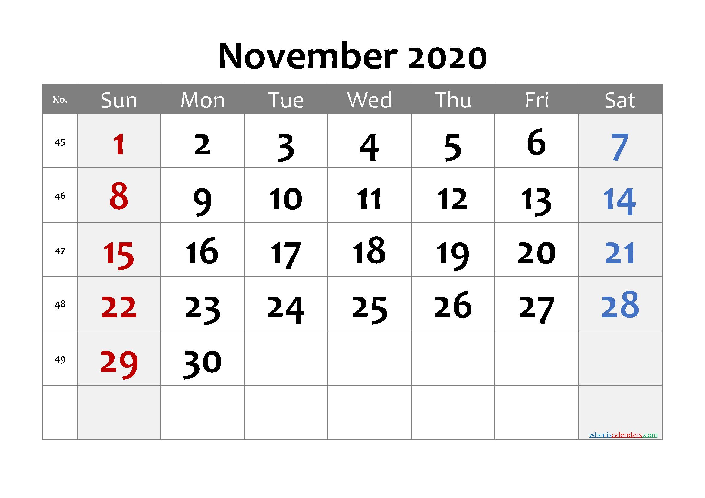 Printable Calendar November 2020