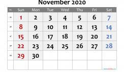 Free Printable 2020 November  Calendar