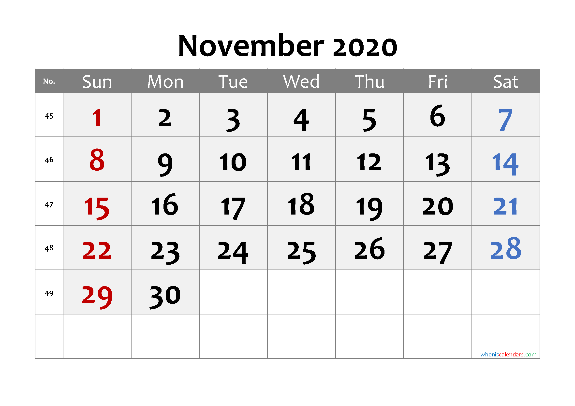 November 2020 Printable Calendar with Week Numbers