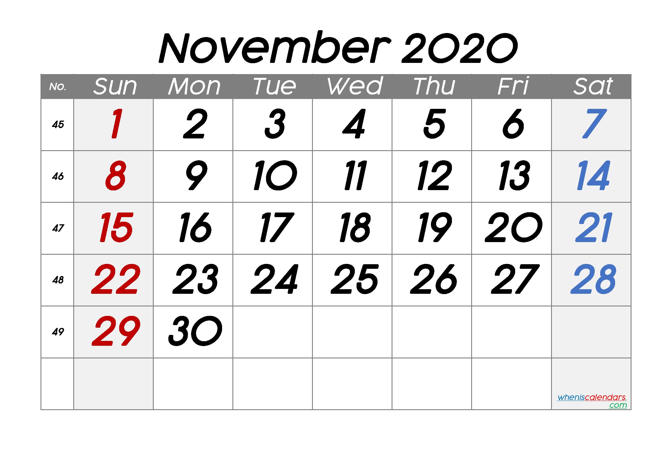 Free November 2020 Calendar