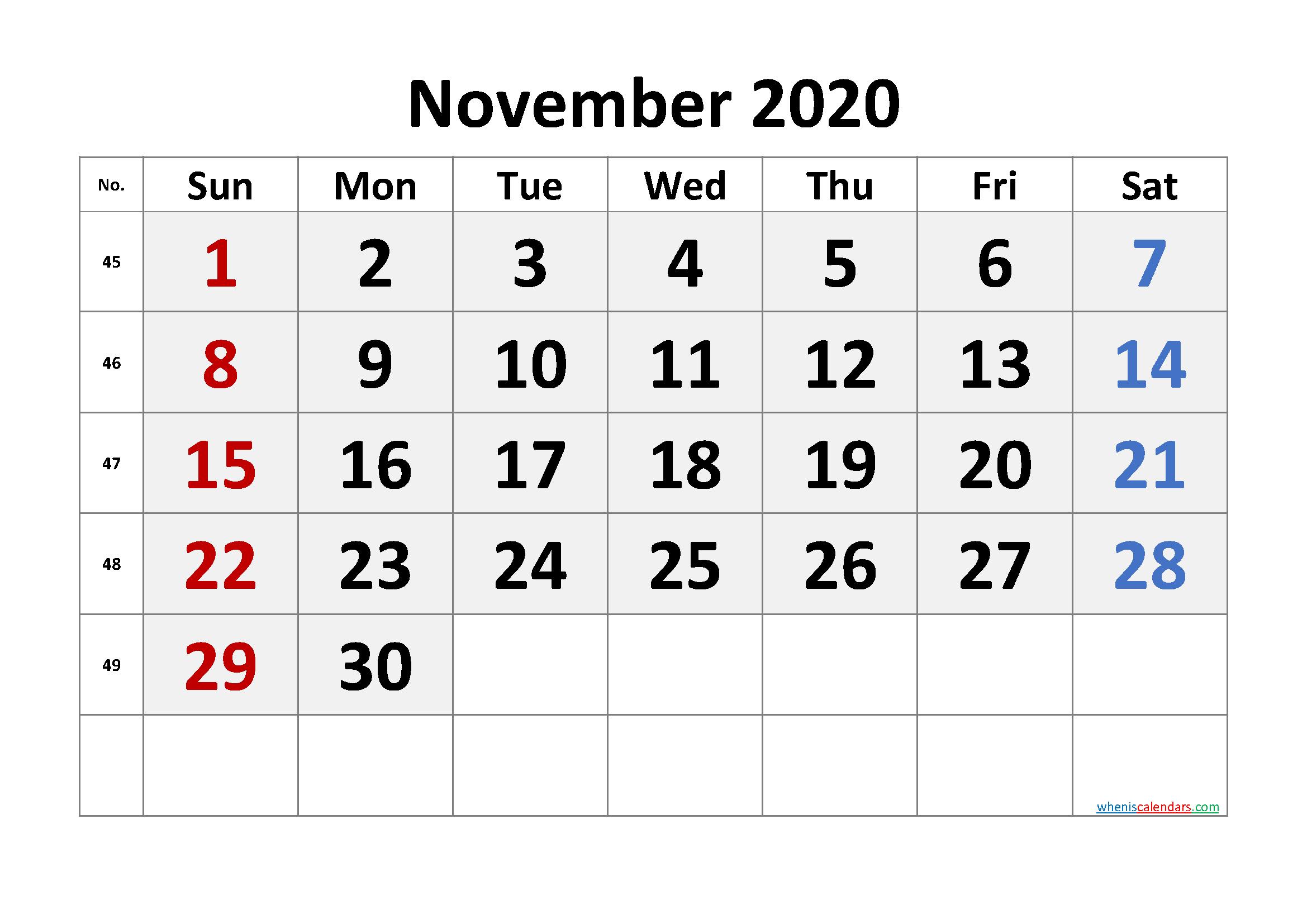 Free Printable November 2020 Calendar with Week Numbers