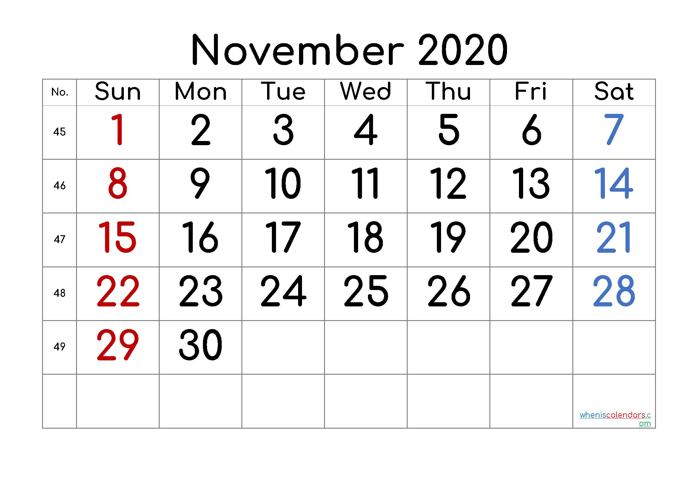 November 2020 Printable Calendar with Week Numbers