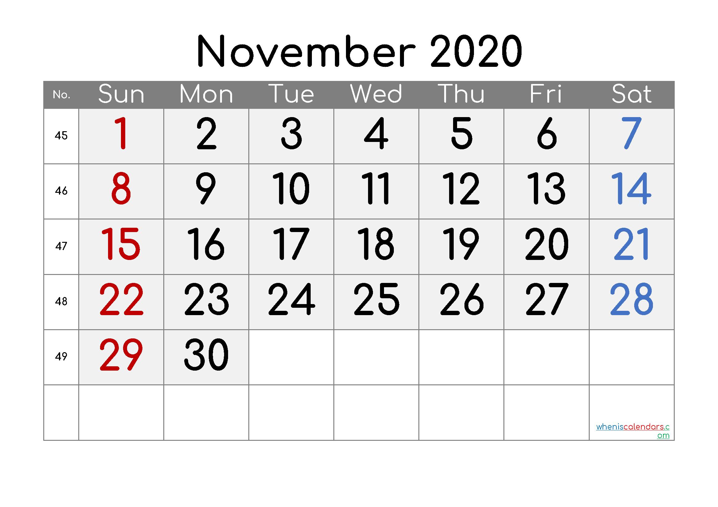 Free November 2020 Calendar with Week Numbers