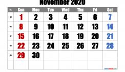 Printable November 2020 Calendar with Week Numbers