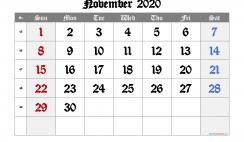 Printable Calendar 2020 November