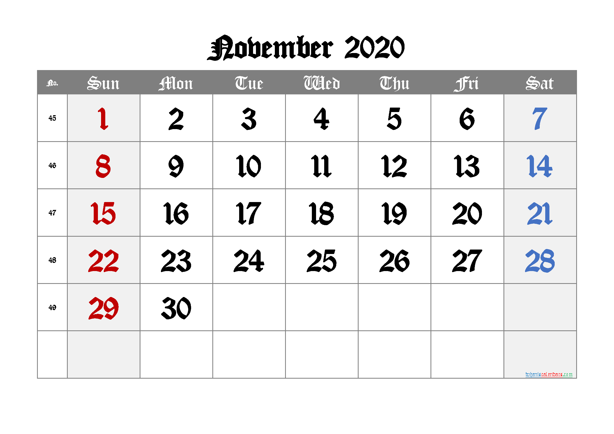 Free Printable Calendar 2020 November