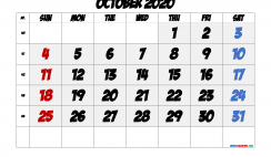 Free Printable October 2020 Calendar with Week Numbers