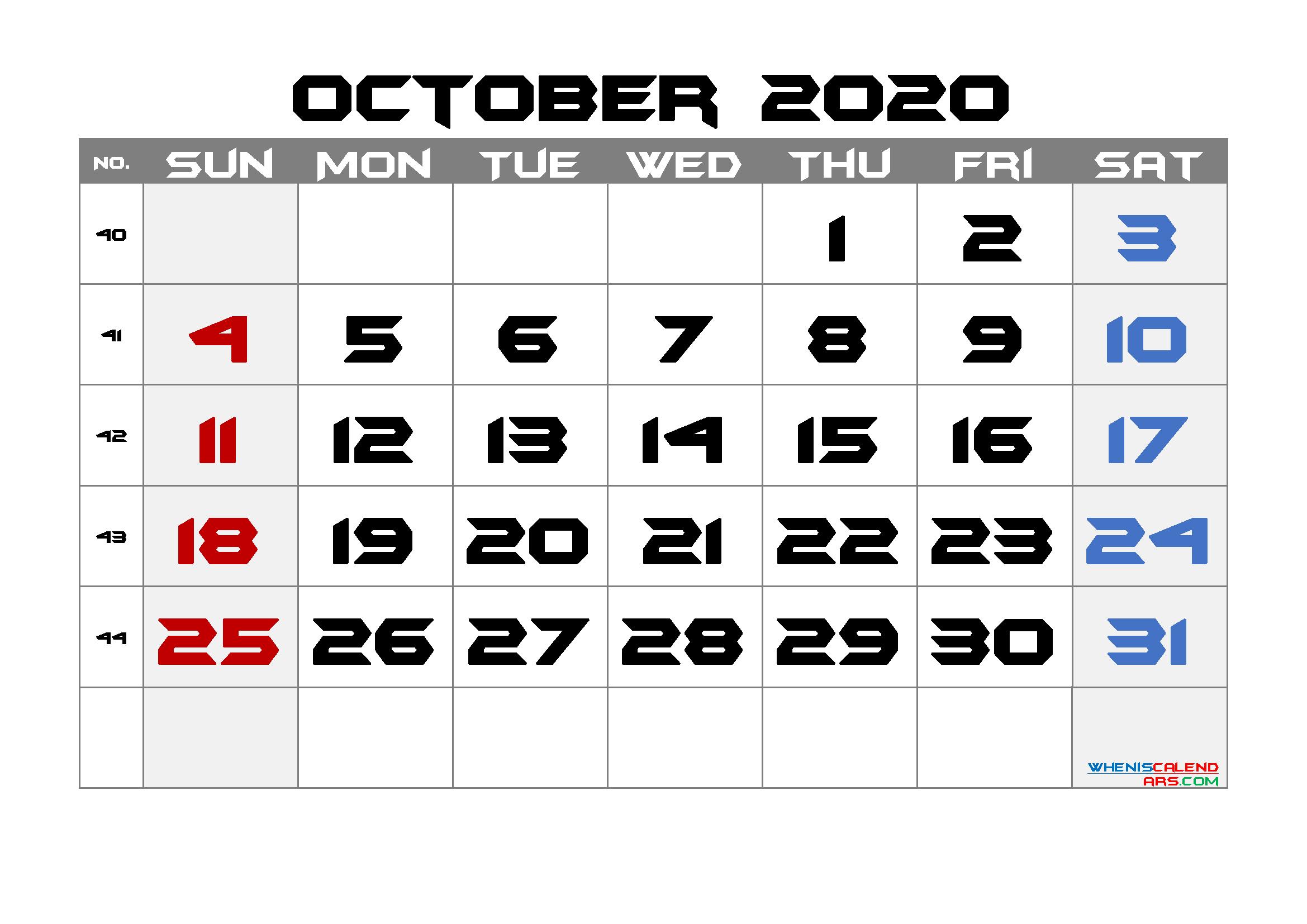 Free Printable Calendar 2020 October