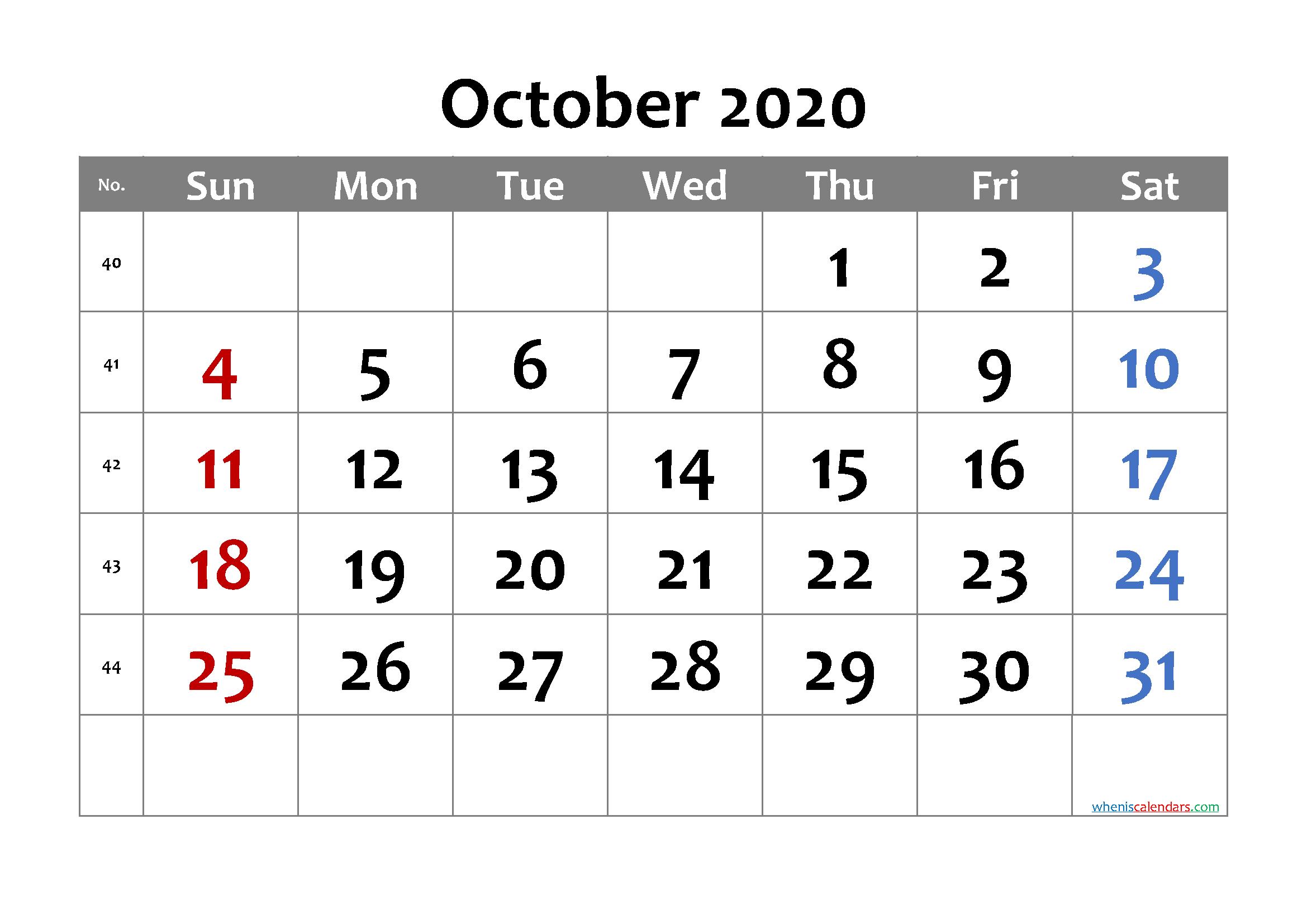 Free Printable October 2020 Calendar with Week Numbers