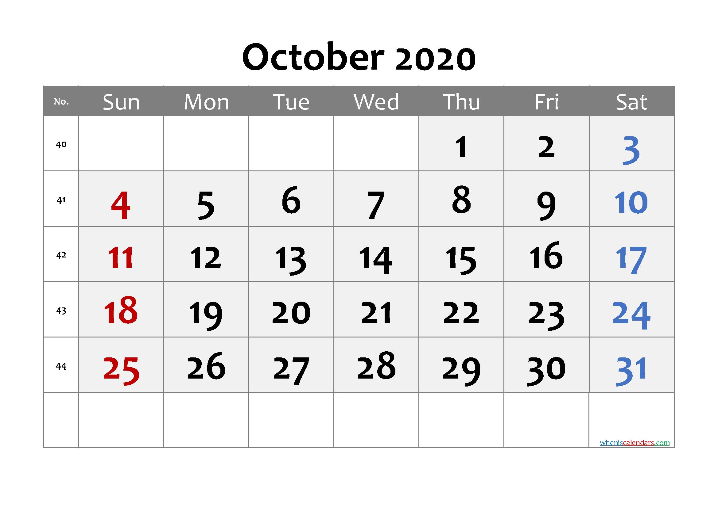 October 2020 Printable Calendar with Week Numbers