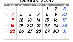 Printable October 2020 Calendar with Week Numbers