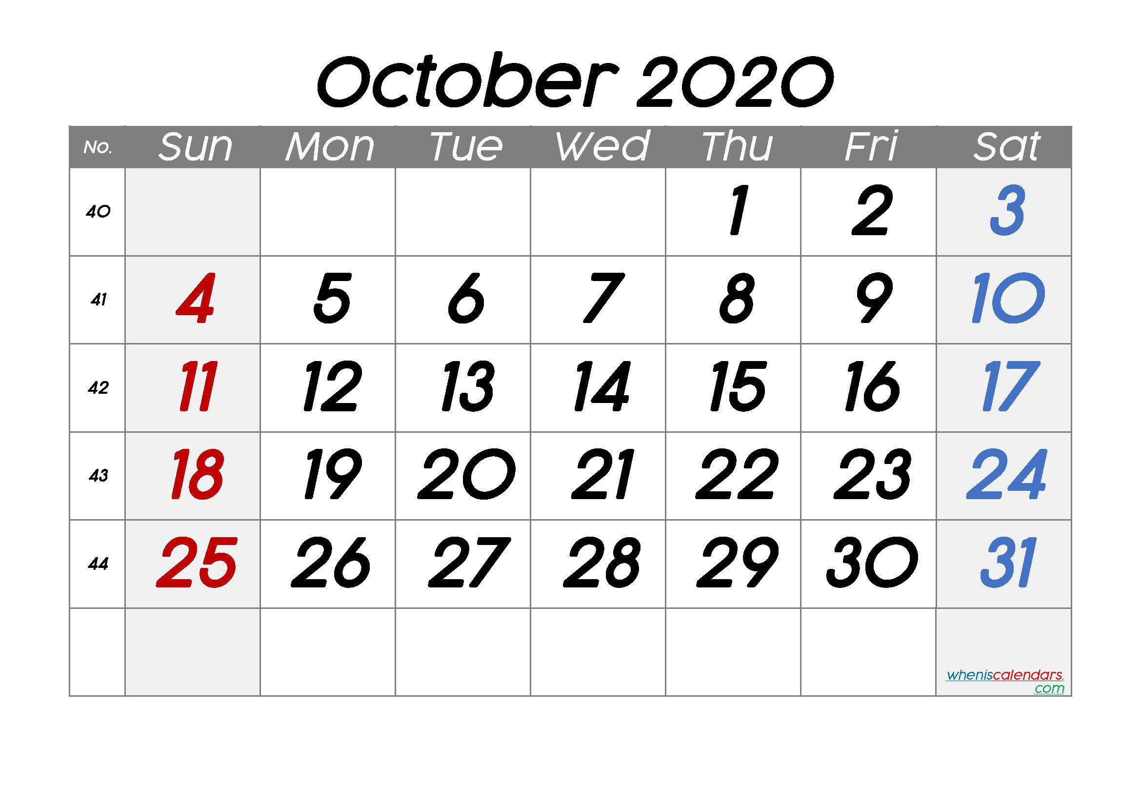Free October 2020 Calendar