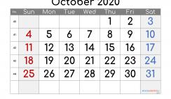 Printable Calendar 2020 October
