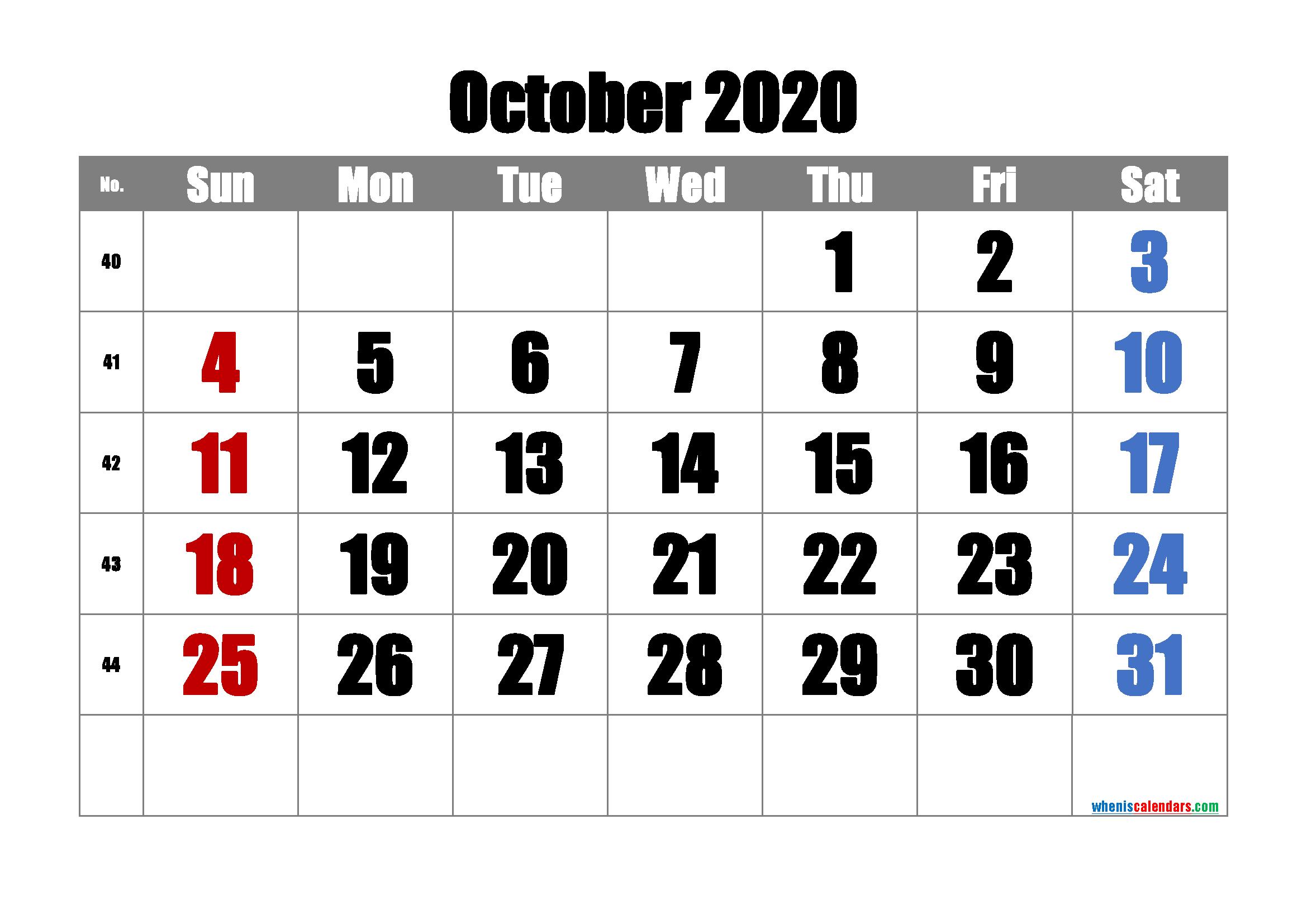 Printable October 2020 Calendar with Week Numbers