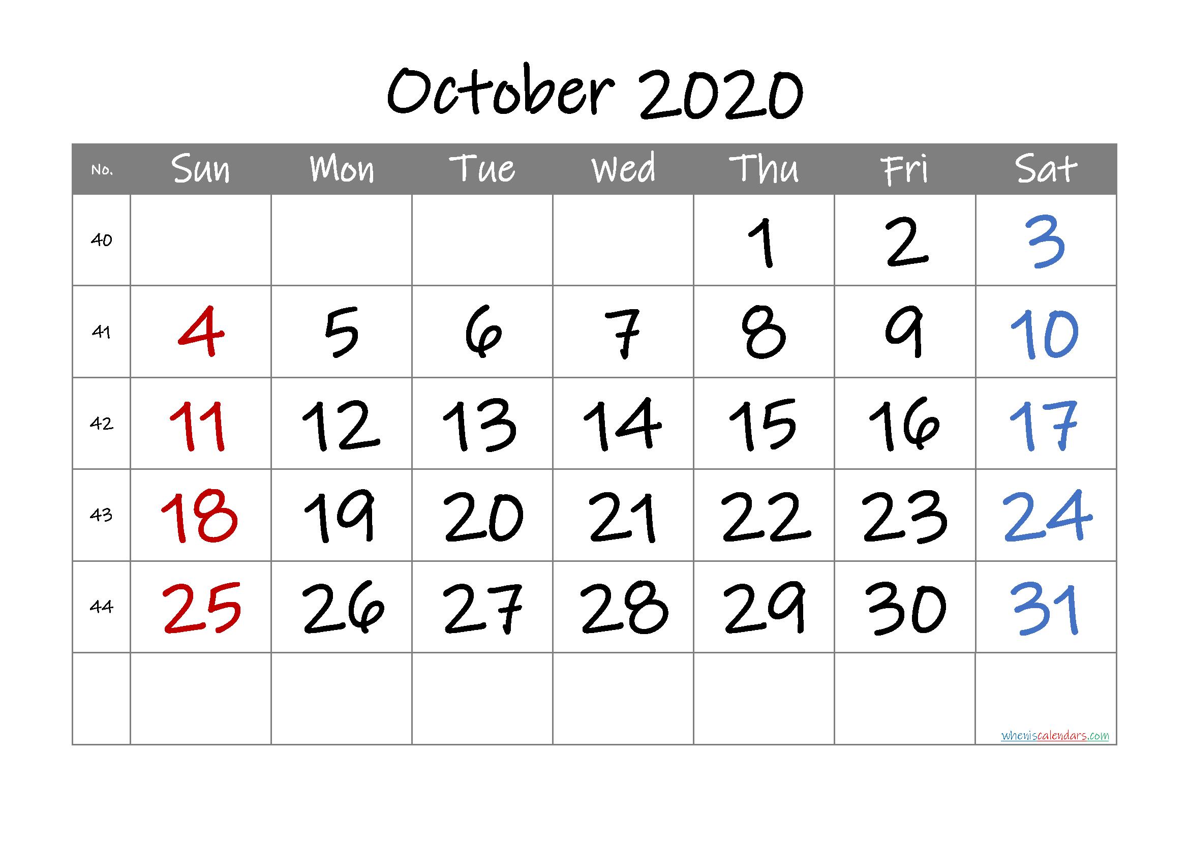 2020 October Free Printable Calendar