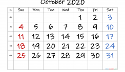 Free October 2020 Calendar with Week Numbers