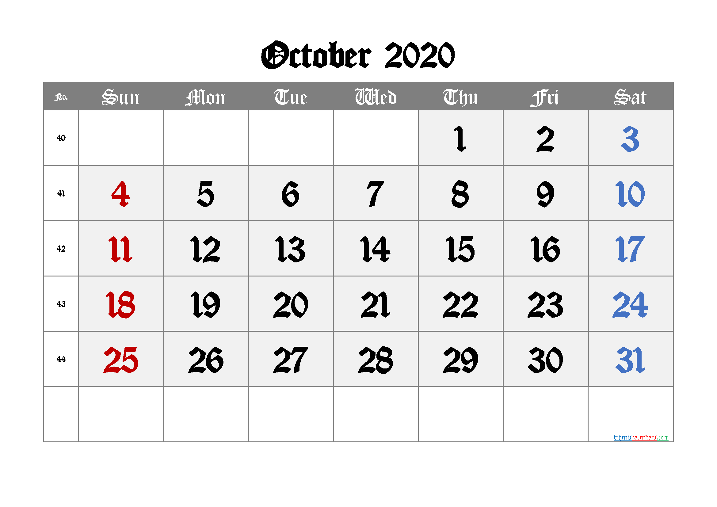 Free October 2020 Calendar with Week Numbers