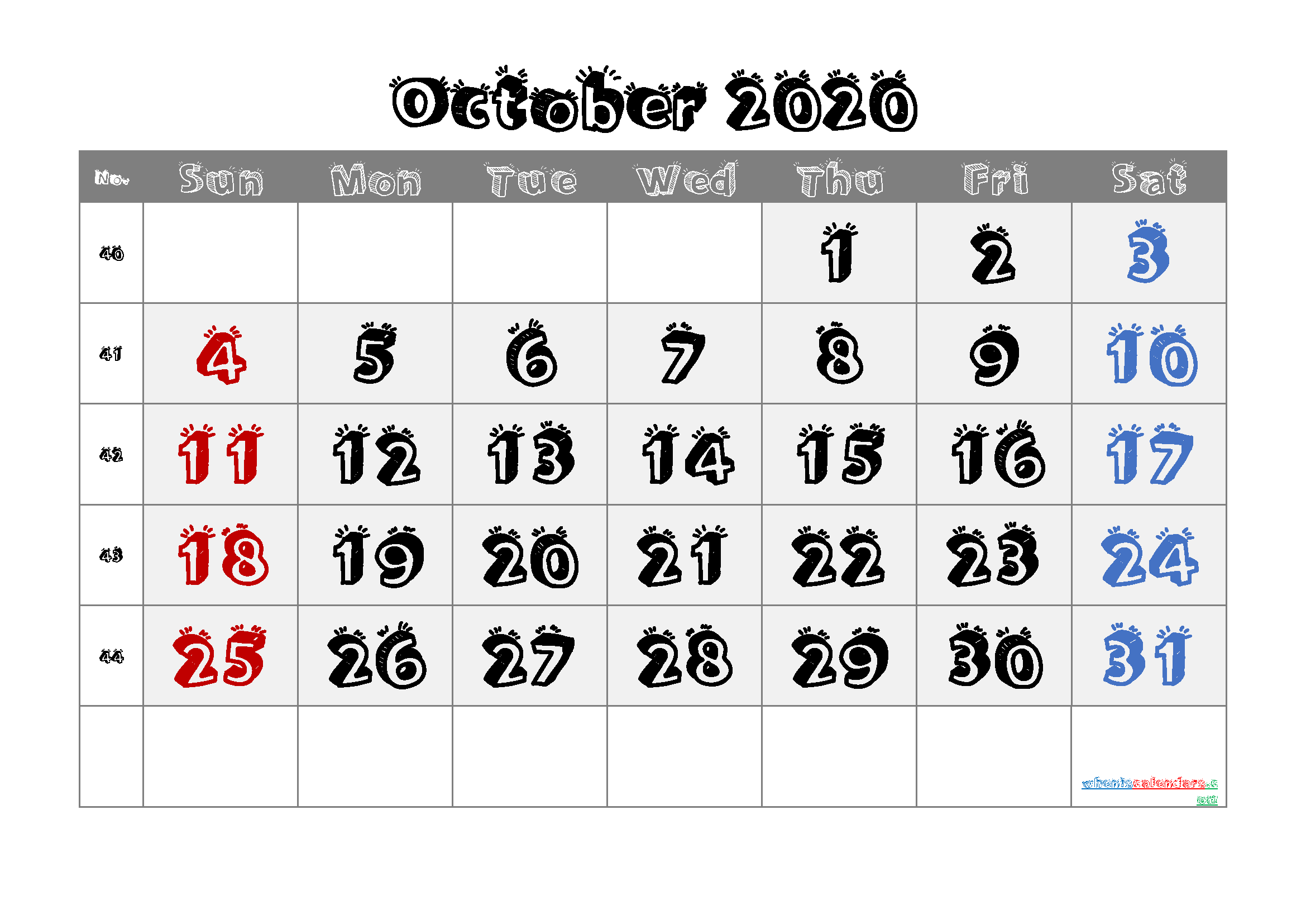 October 2020 Printable Calendar with Week Numbers