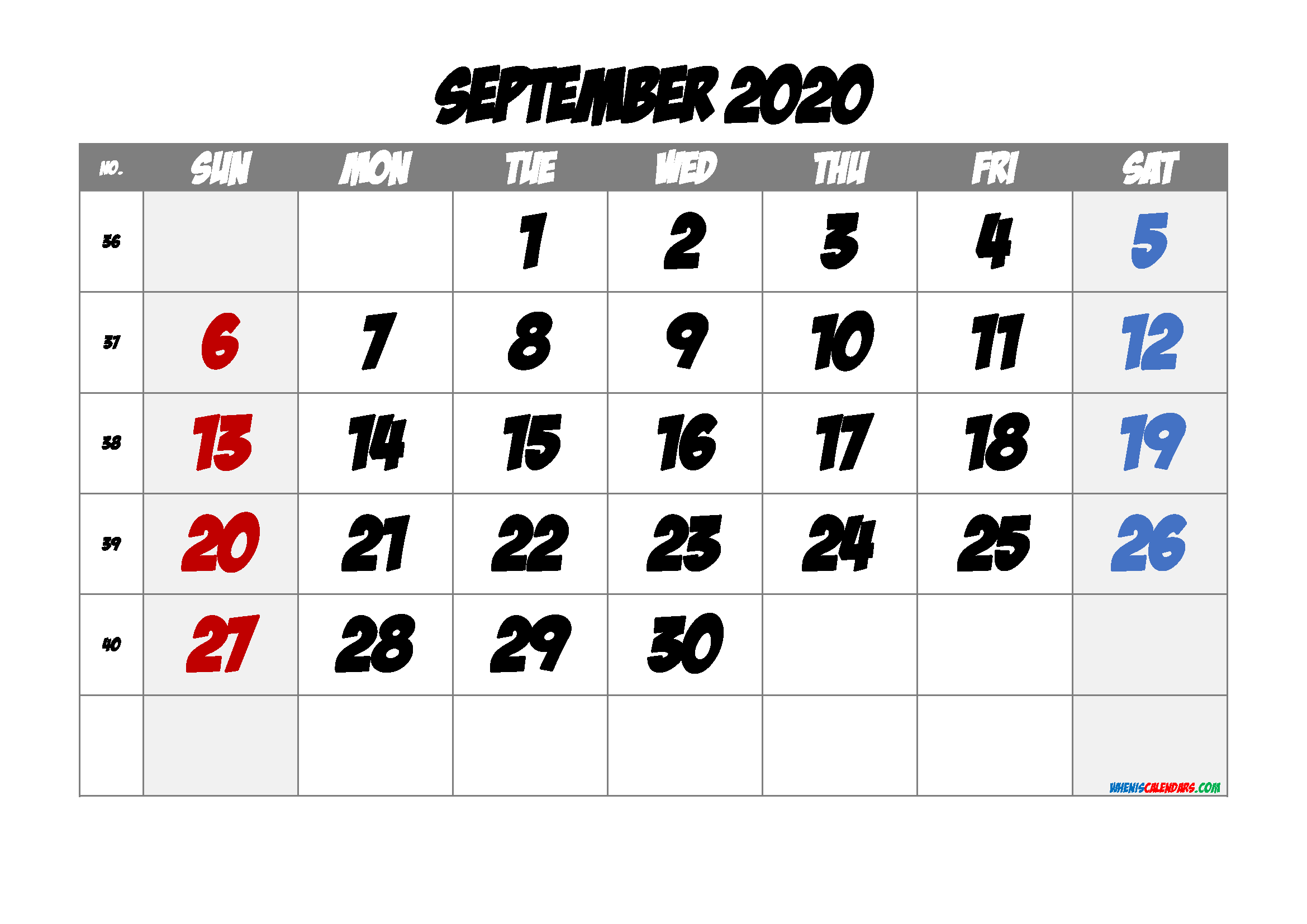 September 2020 Printable Calendar with Week Numbers