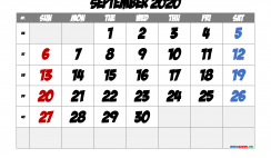 Printable September 2020 Calendar with Week Numbers