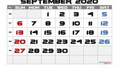 Free Printable Calendar 2020 September