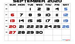 Free Printable 2020 September  Calendar