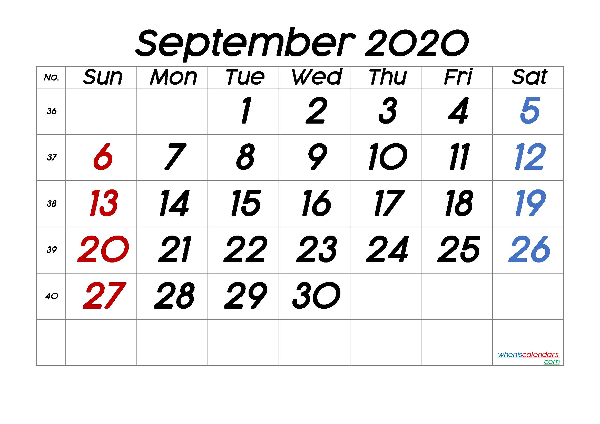Printable Calendar September 2020