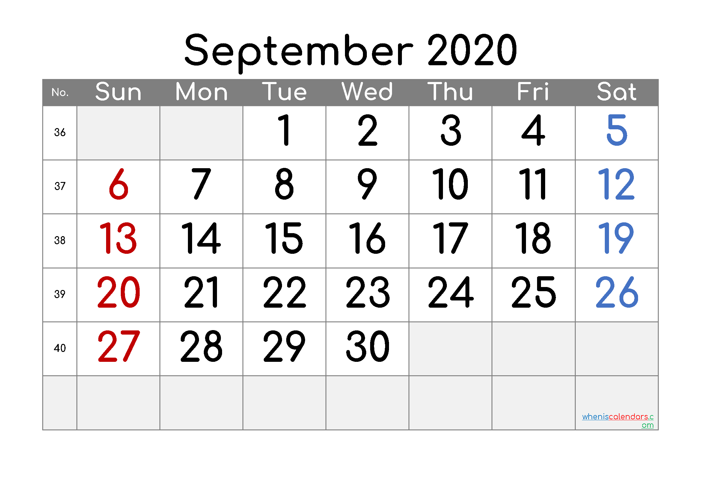 2020 September Free Printable Calendar