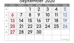 Free September 2020 Calendar with Week Numbers