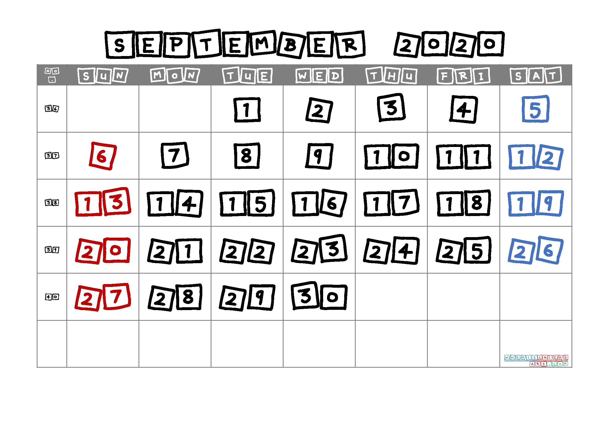 Free Printable September 2020 Calendar with Week Numbers