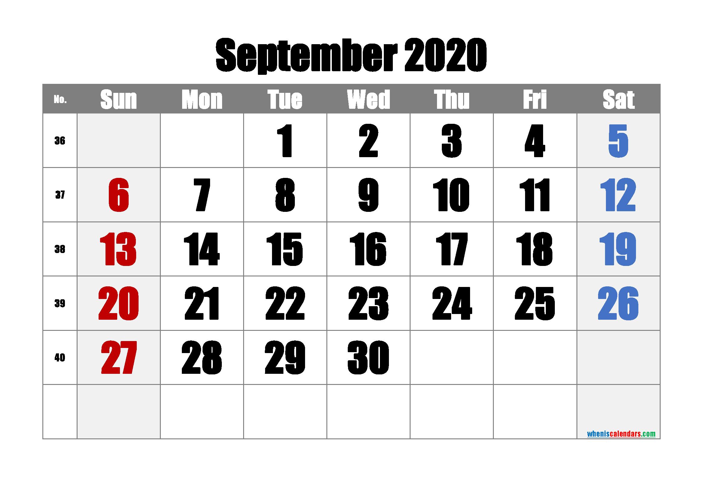 Free September 2020 Calendar