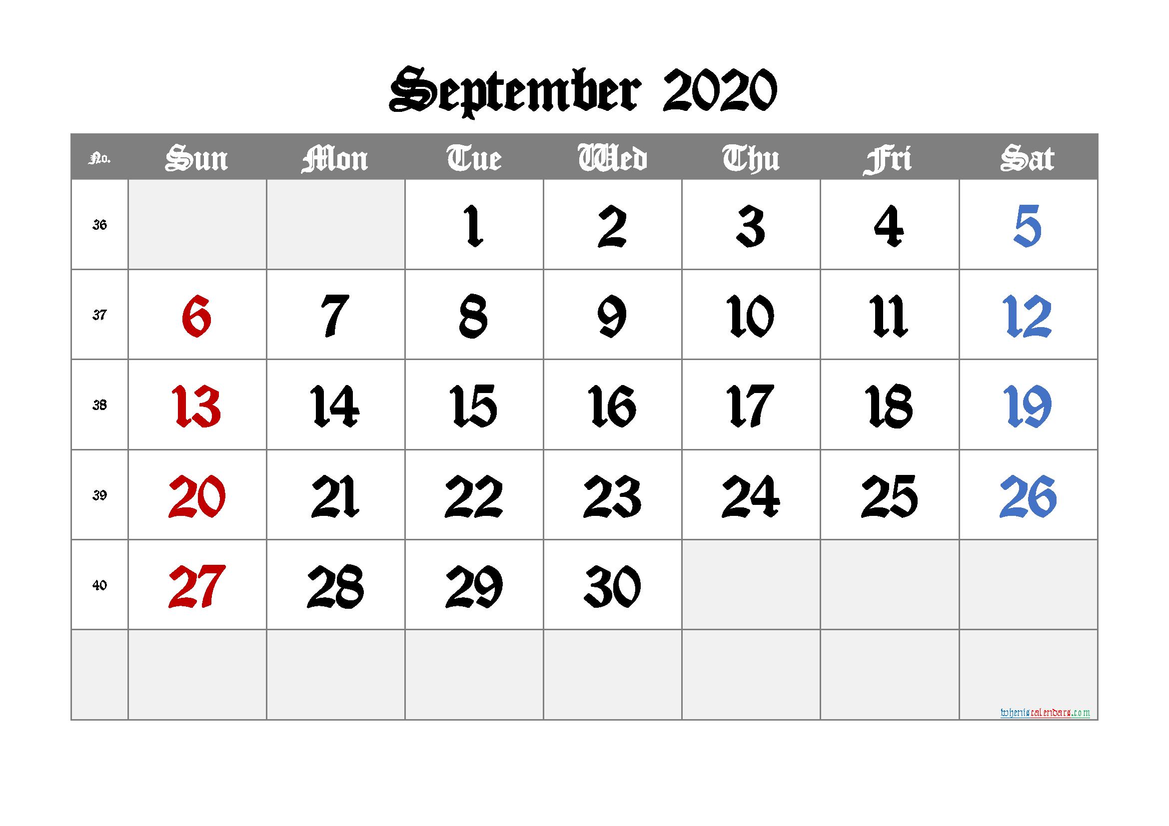 Free Printable Calendar 2020 September Free Printable 2020 Monthly Calendar With Holidays