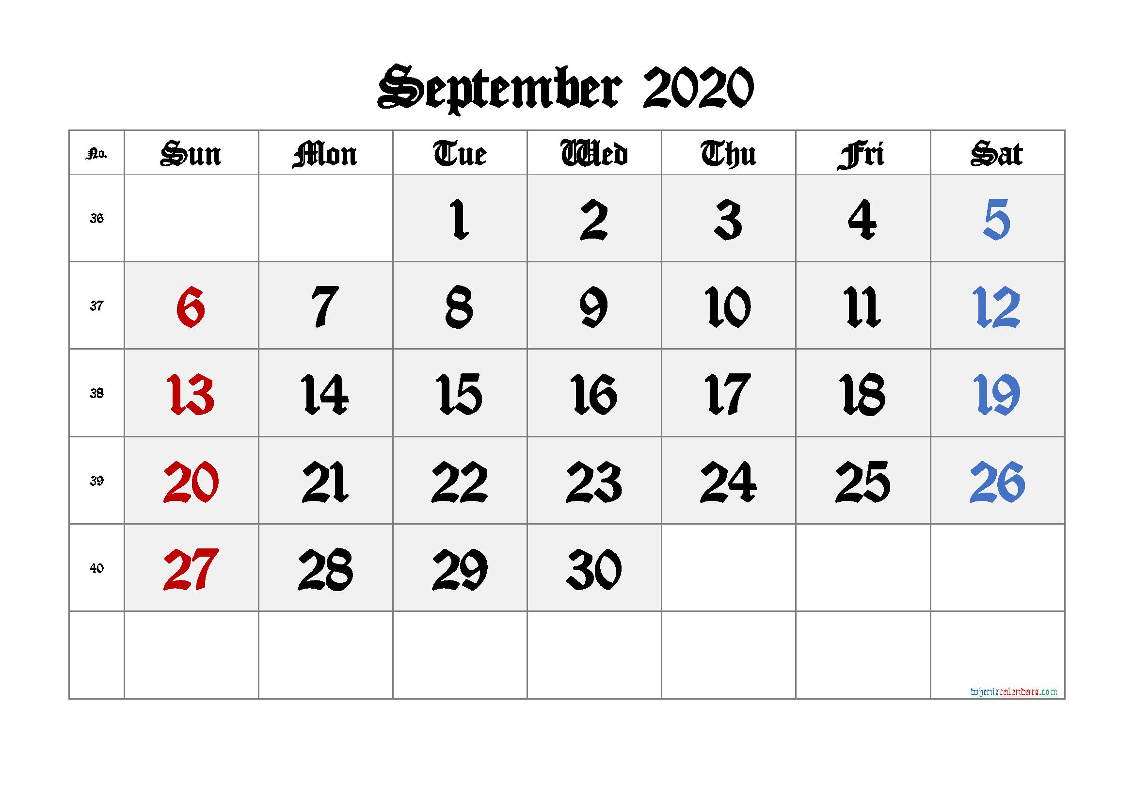 Printable September 2020 Calendar with Week Numbers