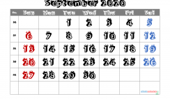 Free Printable September 2020 Calendar with Week Numbers