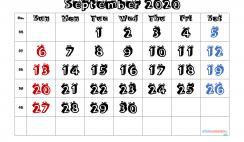 Printable Calendar 2020 September