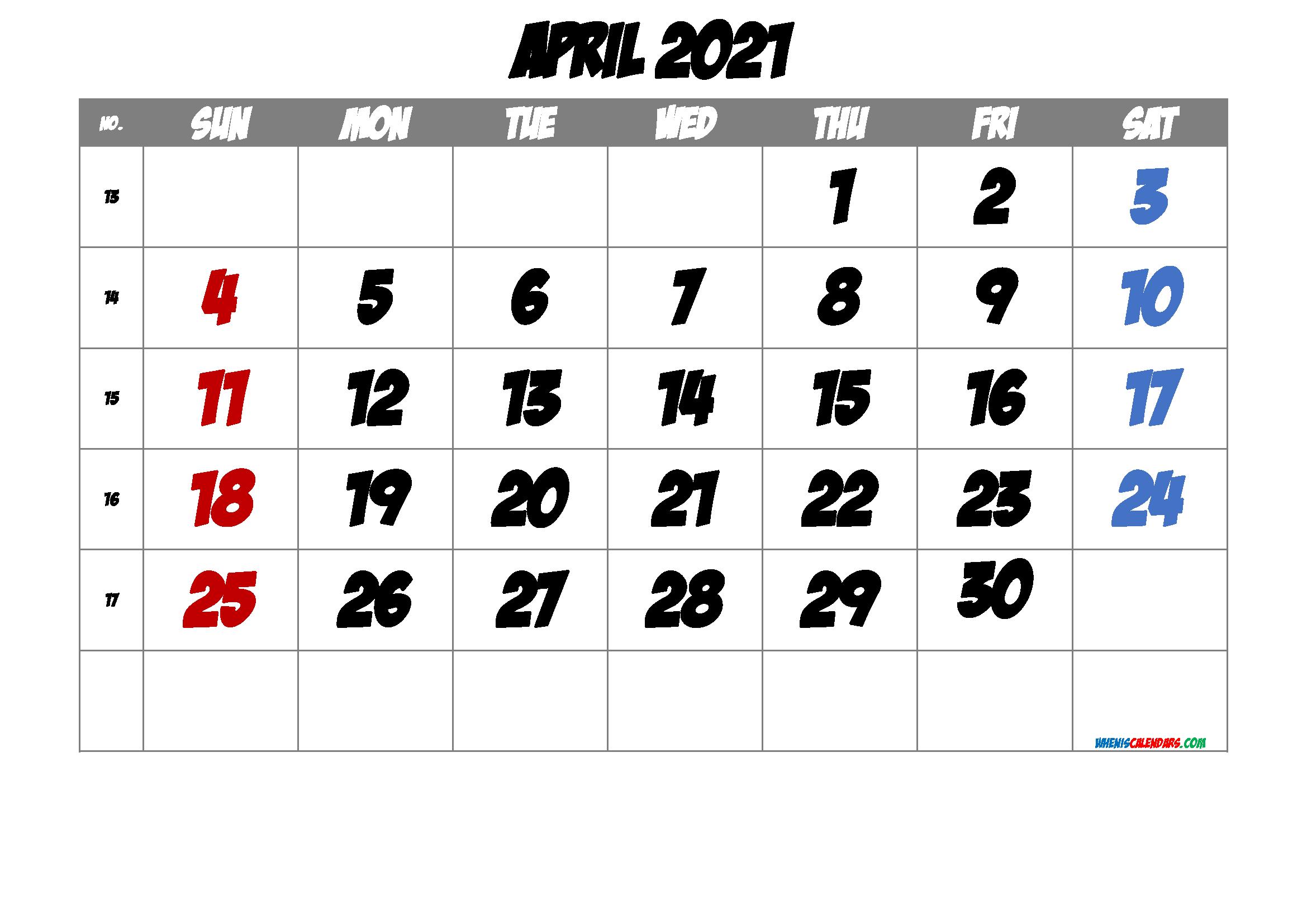 2021 April Free Printable Calendar